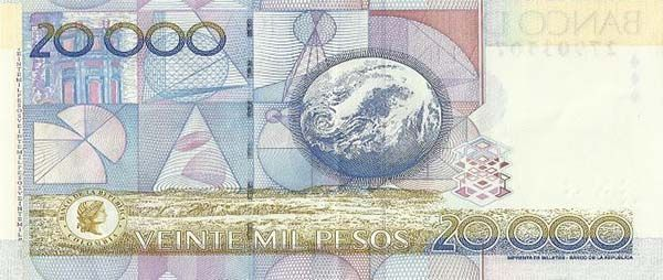 Billete de 20.000 COP colombiano