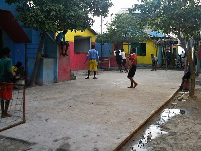 mini estadio de fútbol en Santa Cruz del Islote